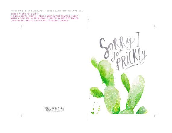 Printable Sorry Card - Sorry I Got Prickly - Cactus Printable - free printable sorry cards