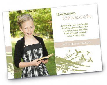 Konfirmation Kommunion Danksagung DIN A6 A5 Quer Frieda Gruen Lila  Verspielt   Einladungskarten Danksagungskarten Klappkarten Hochzeit