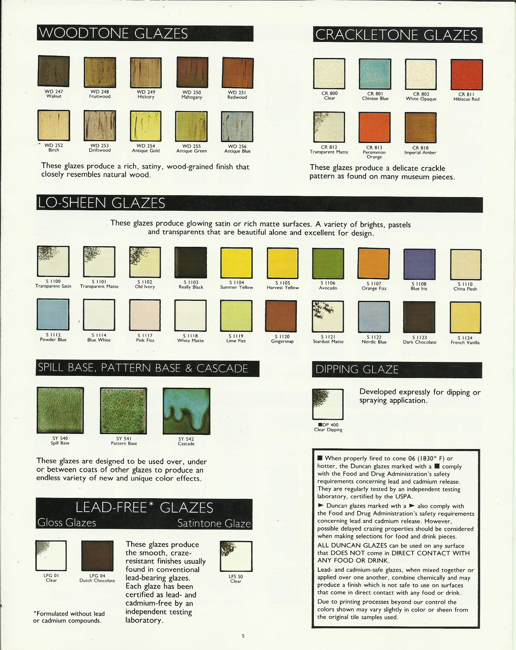 Duncan Woodtone Glaze Color Chart Ceramics Pinterest Colour