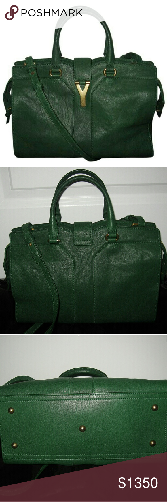 0ae4e2eaaa6e Yves Saint Laurent Small Cabas Chyc Y-linge Bag Gorgeous Authentic YSL small  Cabas Chyc bag in excellent condition. Made of sheepskin. Color Tartan  Green.