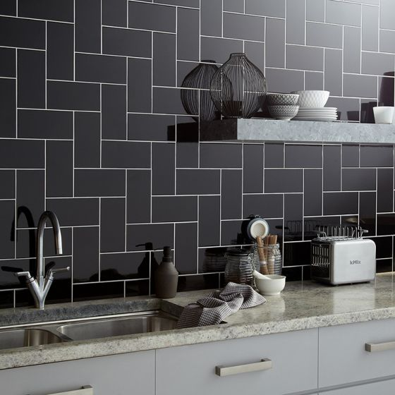 Central Black Ceramic Wall Tile 100x200mm Grey Wall Tiles Kitchen Tiles Design Black Tiles Kitchen