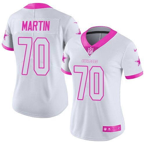 Nike Dallas Cowboys Women s  70 Zack Martin Limited White Pink Rush Fashion NFL  Jersey c0123dbcc