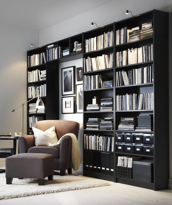 billy is great for a wall to wall library or make a combination where you can mix in your tv. Black Bedroom Furniture Sets. Home Design Ideas