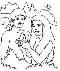 In the Garden of Eden Adam and Eve | Creation coloring ...
