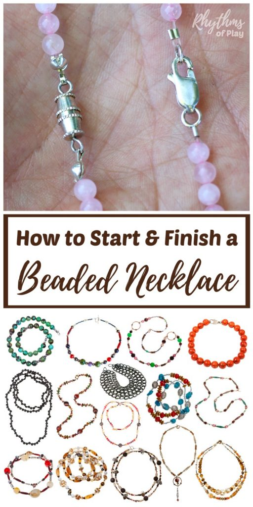 How to Start & Finish a Beaded Necklace (or Bracelet) – DIY Jewelry Making Tutorials & Simple Ideas for Beginners! Learn 3 easy ways to start and finish a beaded necklace or bracelet; infinity, clamshell knot covers, and crimp beads or tubes and pliers. Includes links to jewelry and bead supplies, fun projects, and resources. | #JewelryMaking #JewelryDIY #NecklaceDIY #BraceletDIY #HandmadeJewelryTutorial #HowTo