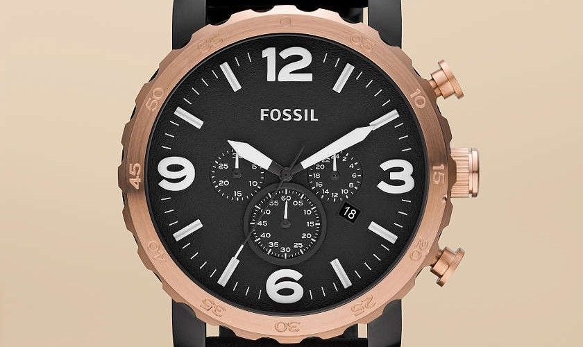 Nate leather watch by Fossil