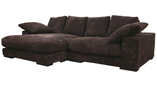 Baxton Studio Choxi Fabric Sofa and Chaise Set in Dark Brown | For ...