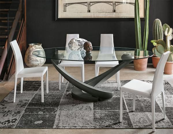 Contemporary Oval Glass Dining Table With Base In Graphite Grey