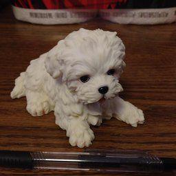 4 5 Inch Maltese Puppy Lying Down Decorative Statue Figurine White Malteser Hunde Strandparty