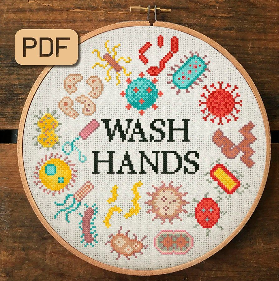 Wash Your Hands Cross Stitch Pattern Microbe Cross Stitch
