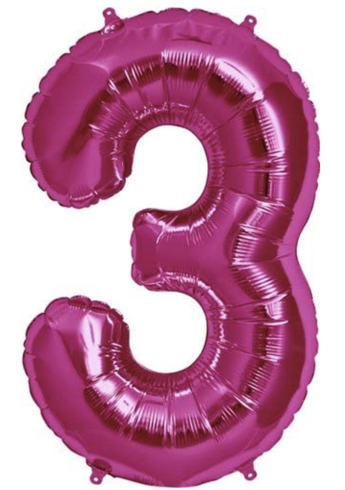 34 3 Pink Foil Number Balloon Number Balloons Foil Number Balloons Foil Balloons