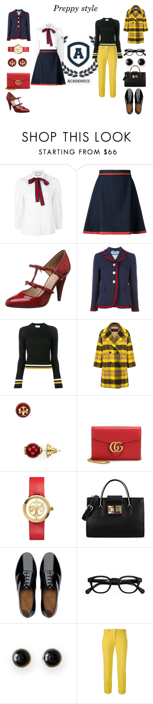 """Preppy style"" by lulochka ❤ liked on Polyvore featuring Gucci, Loveless, Boutique Moschino, 3.1 Phillip Lim, Pink Tartan, Tory Burch, Karl Lagerfeld, FitFlop, See Concept and Mark & Graham"