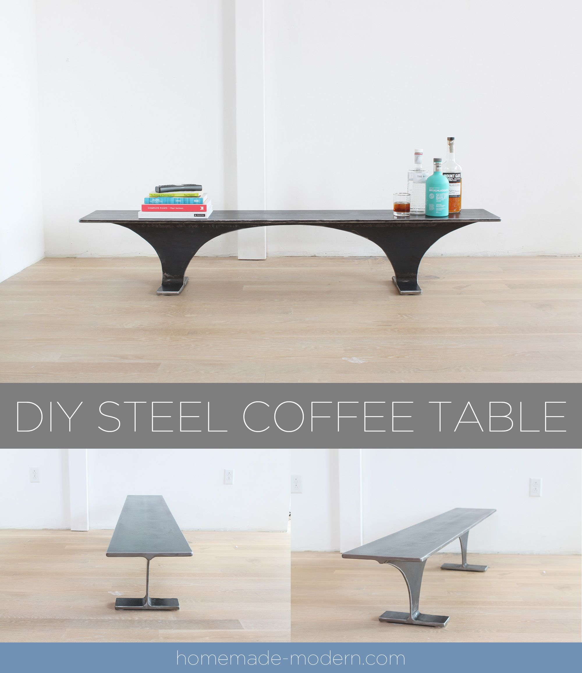 This Steel Coffee Table Or Bench Was Carved From A Single Piece Of I Beam And Was Designed By Ben Uyeda For More Information On This Project Go To Homemade Mod [ 2313 x 2000 Pixel ]