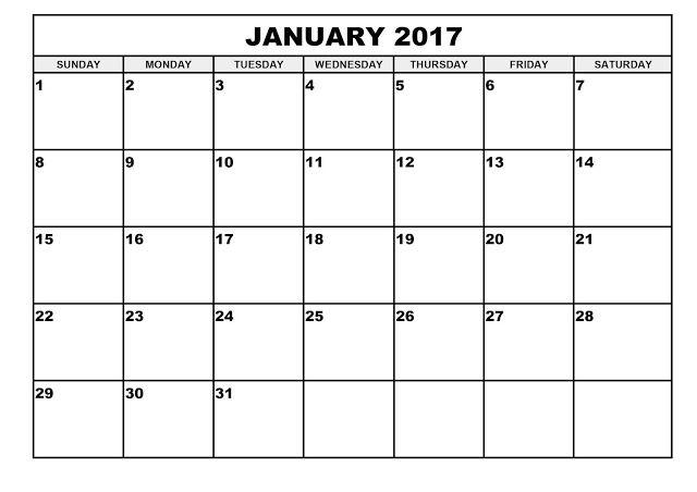 January 2017 Calendar 1 Monthly Calendar Printable June