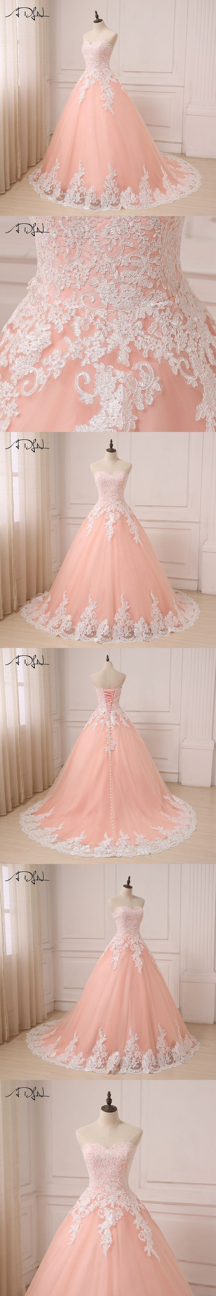 ADLN 2017 Color Wedding Dresses Coral Sweetheart Sleeveless Tulle ...
