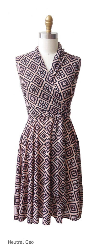 This Neutral Colored Geo Print Dress Is The Ruby Our Faux Wrap