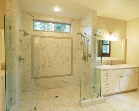 Putty Curbless Shower Tile Is Calacatta Porcelain Tile