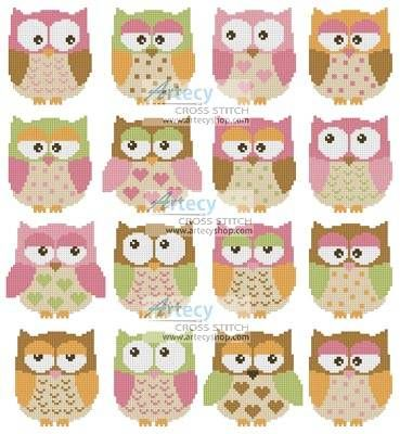 Owls cross stitch pattern.