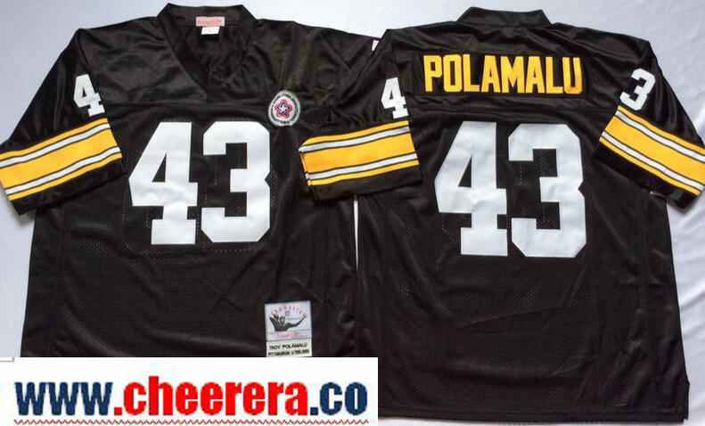affb9376017 Men s Pittsburgh Steelers  43 Troy Polamalu Black Throwback Jersey by  Mitchell   Ness