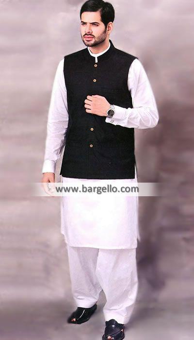 Black Waistcoat For Men With Indian Punjabi Cotton Kurta -7840