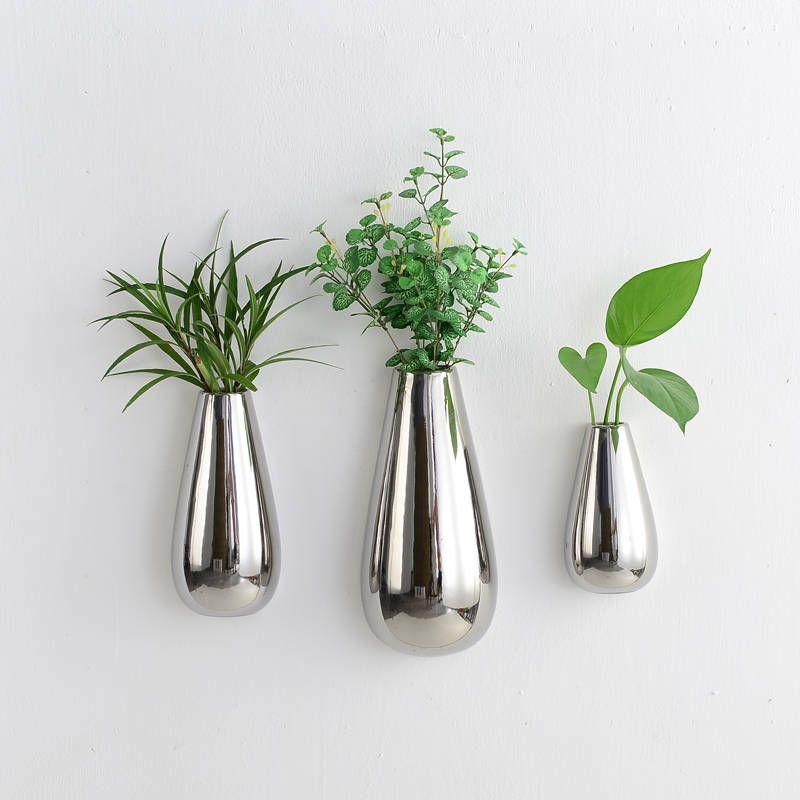 Set Of 3 Silver Plated Ceramic Wall Vase Teardrop Ceramic Flower