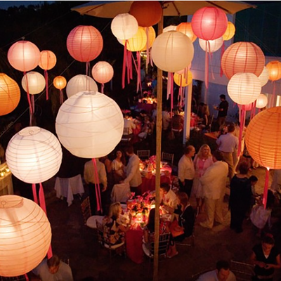 12 Pack 8 Orange Round Chinese Paper Lantern Clearance Sale