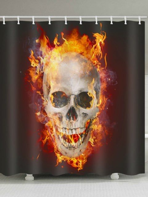 Skull Flame Print Waterproof Shower Curtain With Images Skull