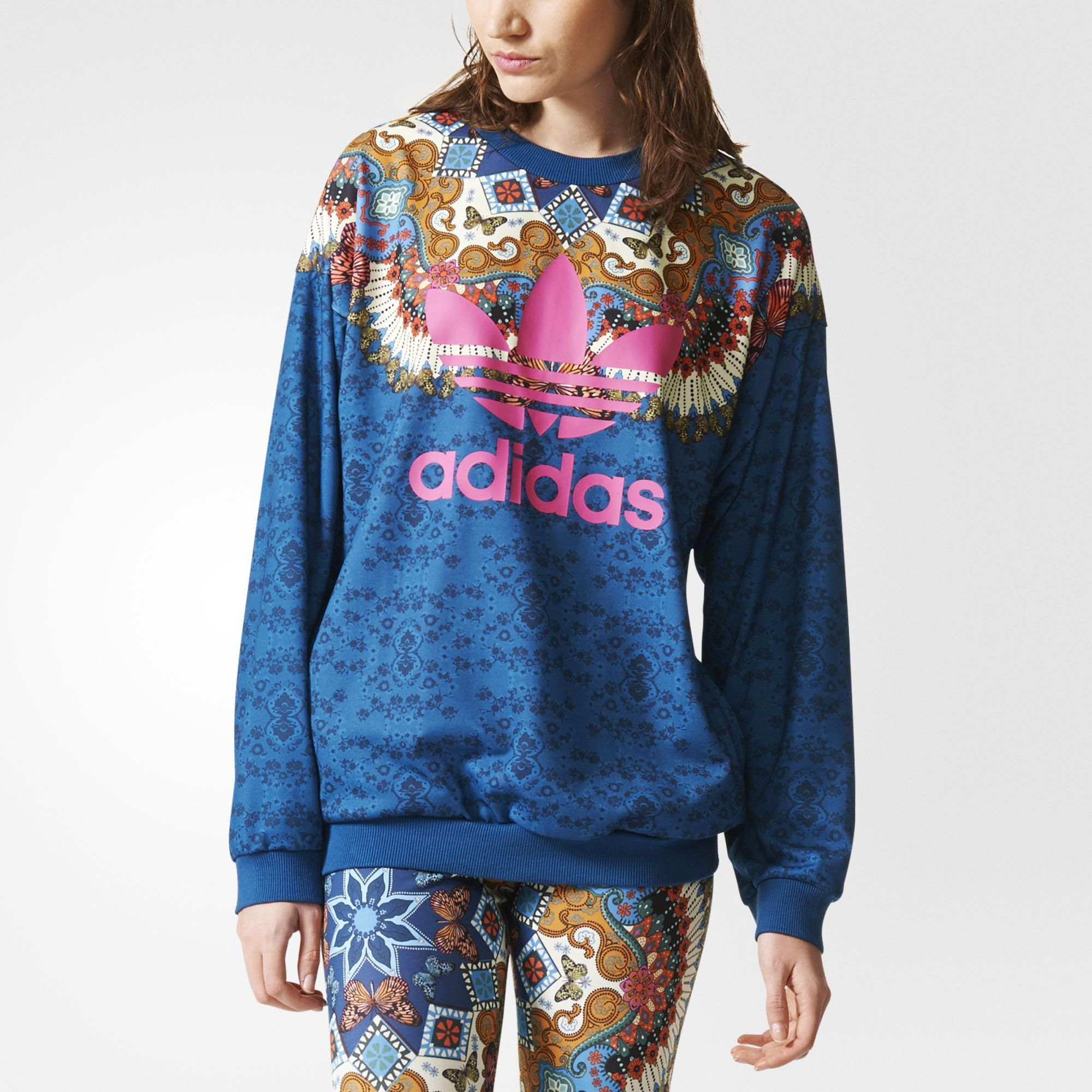 A Colorful Kaleidoscope Like Print Repeats Across This Women S Sweatshirt A Collaboration With Brazili Sweatshirts Sweatshirts Women Women Hoodies Sweatshirts [ 2000 x 2000 Pixel ]
