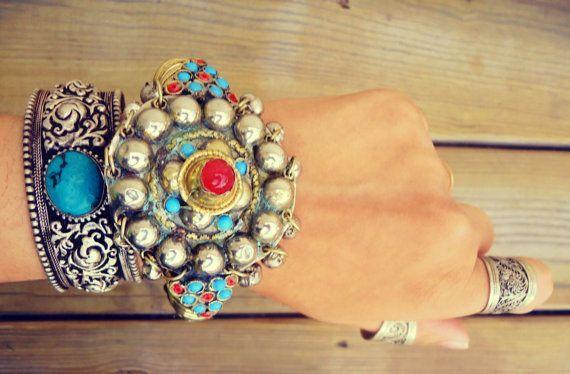 Afghan turquoise bracelet- Bedouin Silver Cuff bracelet- Ethnic uff bracelet- Spike bracelet- Vintage statement bracelet- Gypsy bracelet