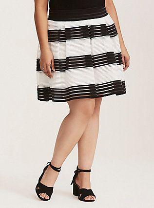 822f941b8537 Striped Sheer Flared Skirt, BLACK WHITE STRIPE   Fatshion M   Flare ...