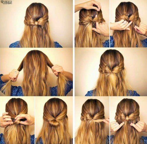 Peinado medio recogido con lazo de pelo paso a paso peinado