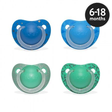 Boys 6-18 months Orthodontic Silicone Soother in assorted designs.