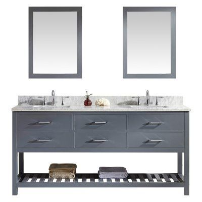 Virtu USA Caroline Estate 72-in Double Bathroom Vanity with Square