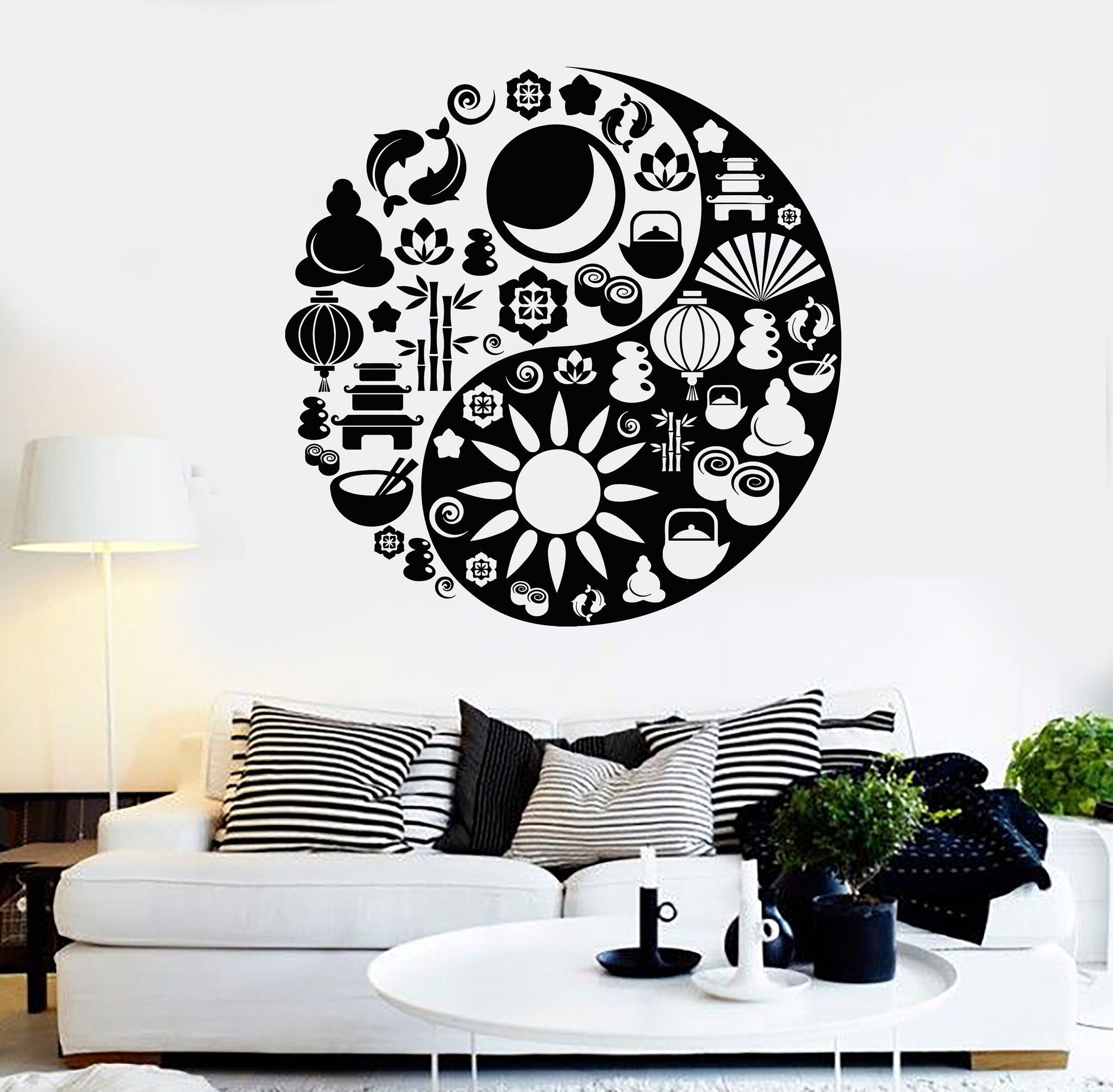 Vinyl Wall Decal Yin Yang Zen Buddhism Spa Salon Asian Style - Vinyl wall decals asian