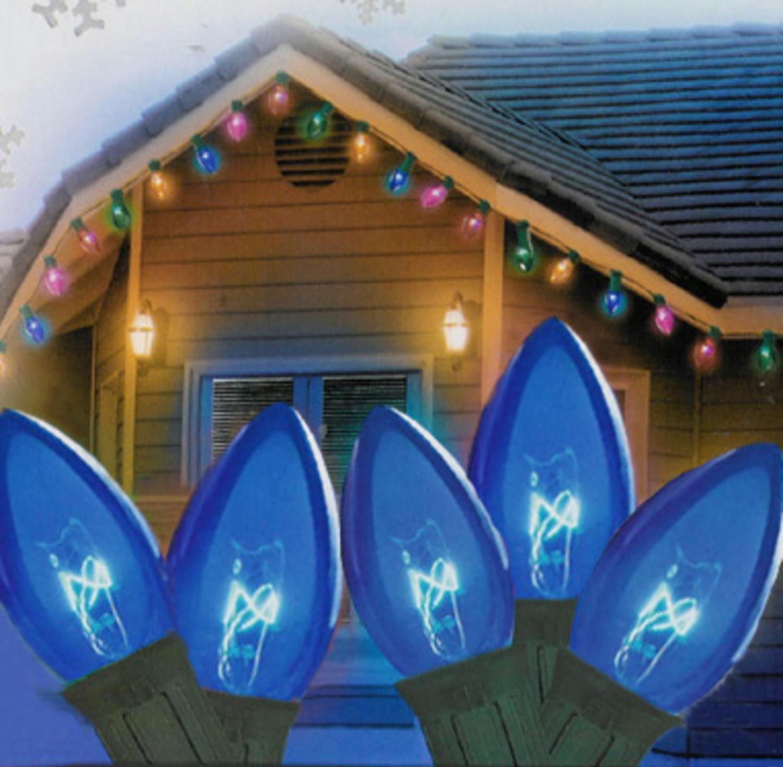 Set Of 25 Transparent Blue C9 Christmas Lights 12 Spacing