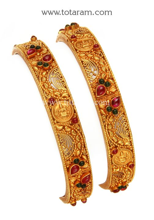 22K Gold Bangles Set of 2 1 Pair Temple Jewellery Totaram