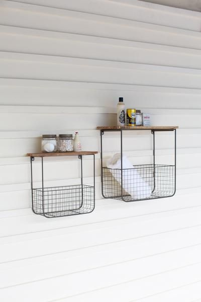 Photo of S/2 WIRE BASKET WALL SHELVES