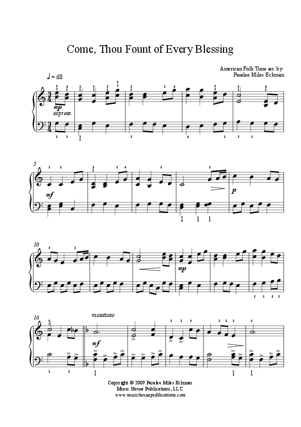 Come Thou Fount of Every Blessing (Easy Piano Solo) | Music ...