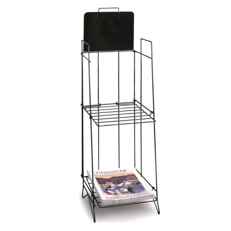Standing Wire Magazine Newspaper Rack Blck 2 Shelves Foldable Storage Sign Plate This Standing Wire Magazine Newsp Simple Storage Retail Fixtures Storage