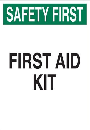 "Brady 85324 First Aid Sign,14X10"",grn And Bk/wht"