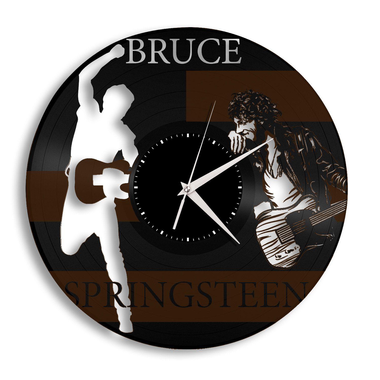 Repurposed Vintage Bruce Springsteen Record Clock Rock And Roll Music Artist Wall Art Unique Wall Decor Gift For Mom Clock Wall Clock Handmade Wall Clocks