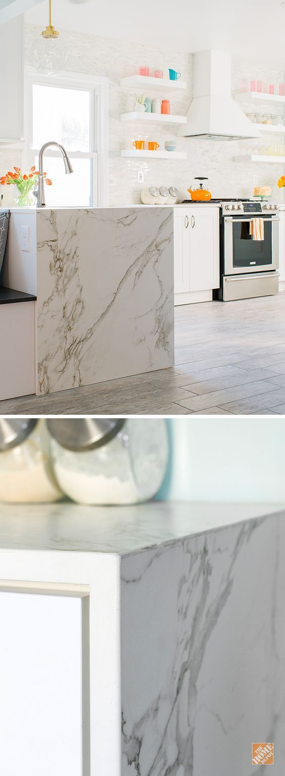 This Waterfall Edge Countertop Looks Like On Trend Calacatta Marble But This Ultra Compact Dekton Material Is More Dura Dekton Countertops Kitchen Countertops