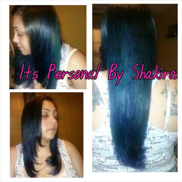 Layers Ombre Blue Hair Green Hair Color Long Hair Flat Iron Silk