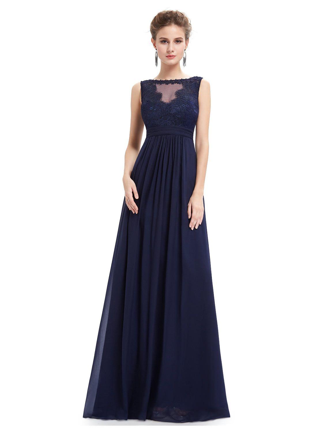 langes abendkleid mit spitze in blau | chiffon abendkleider