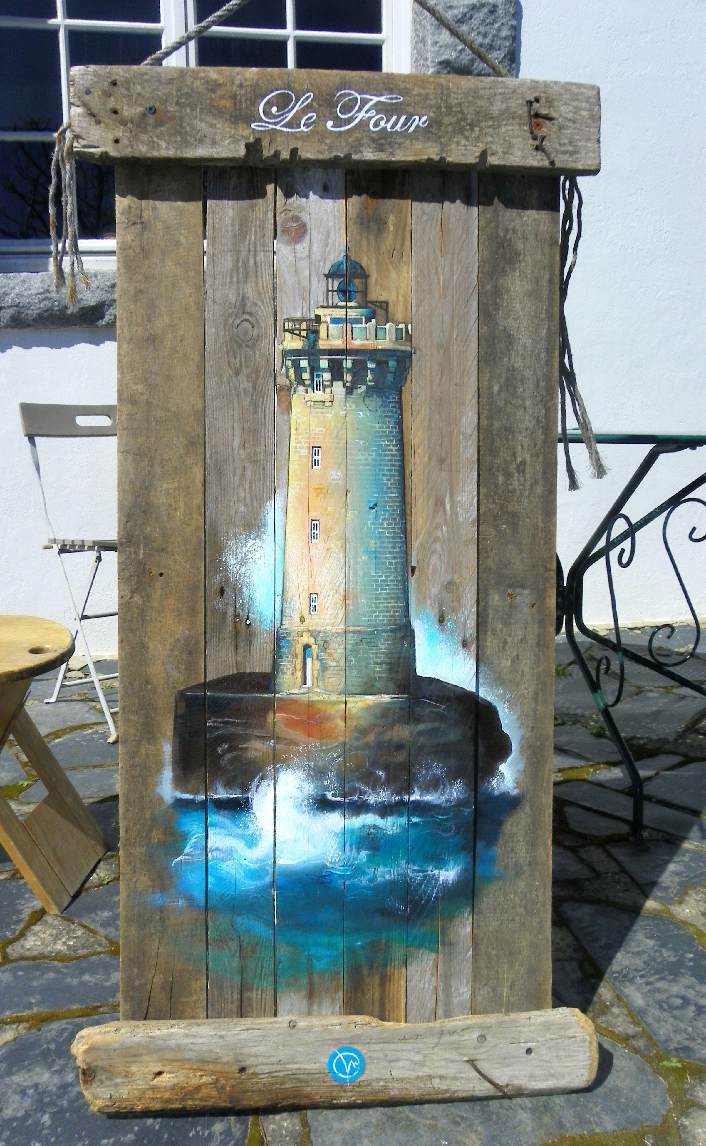 Peinture Bois Flotté - phare du four peinture bois flotté deco finistere painting Pinterest Finist u00e8re, Phare et Bois