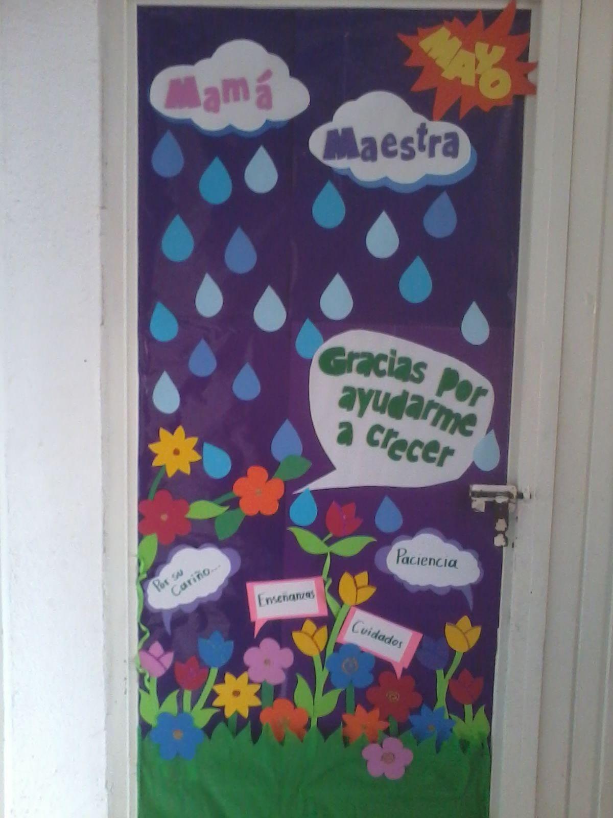 Decoraci n de puerta ambientaci n classroom mayo - Decoracion dia de la madre ...