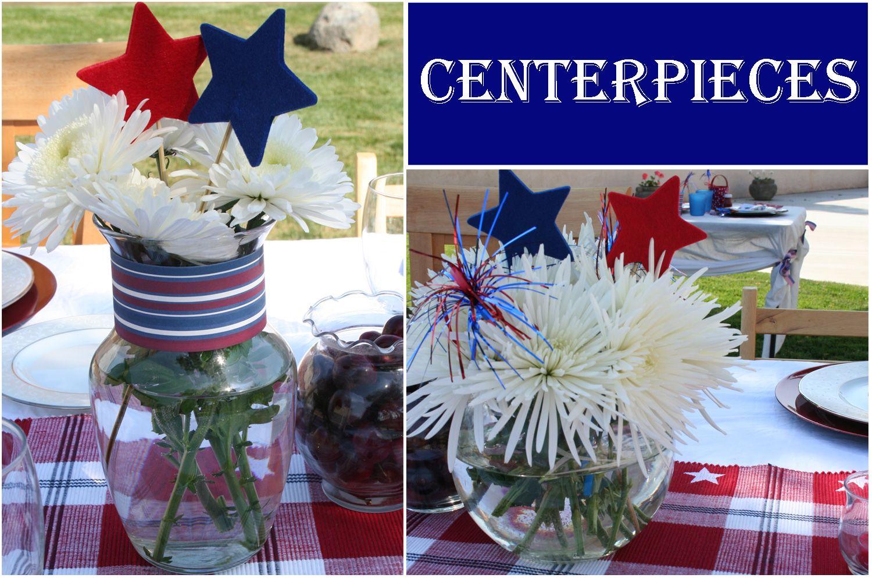 Patriotic Patio Party Surprise Giveaway Patriotic Centerpieces Patriotic Table Decorations Patriotic Decorations