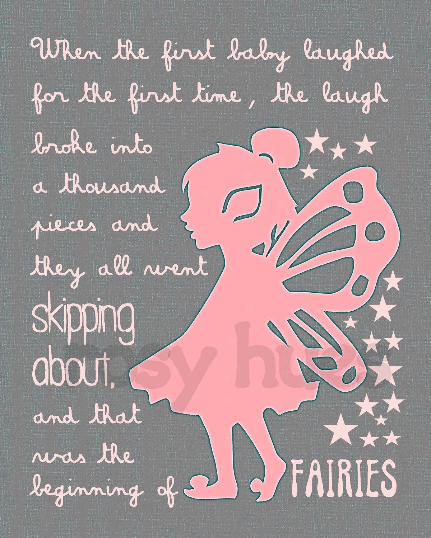 Peter Pan quote- Kids art, Kids wall art, Nursery art, Fairy art, Tinkerbell, Playroom art. $14.00, via Etsy.