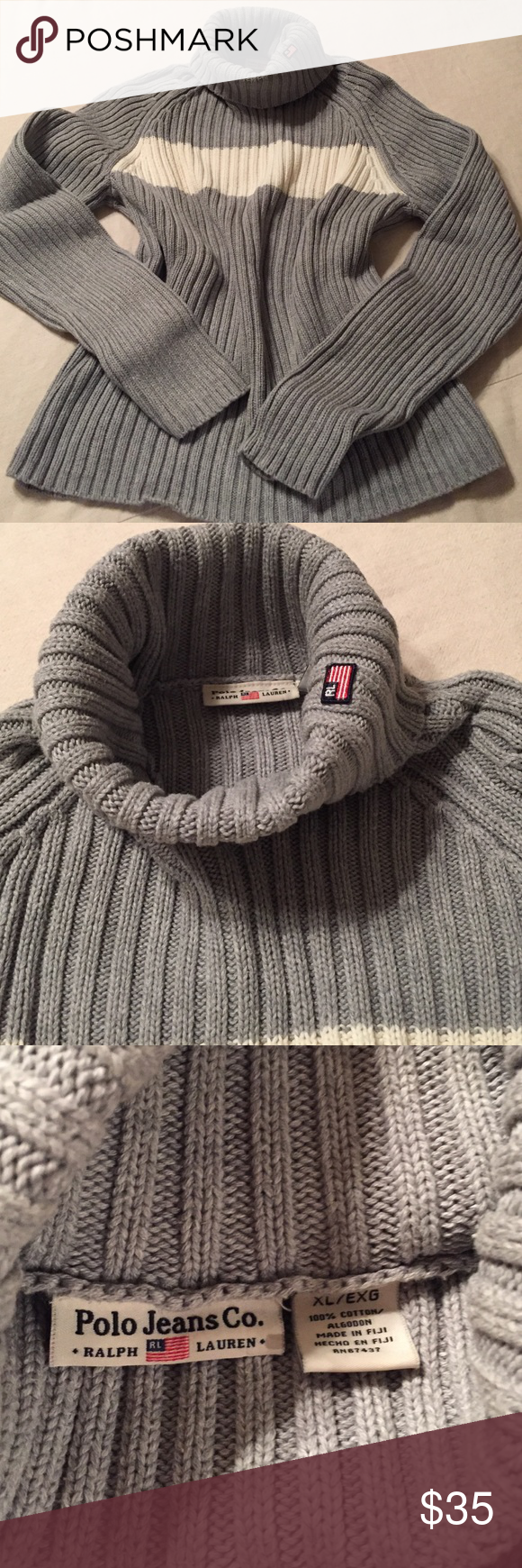 Turtleneck sweater Turtleneck sweater from Ralph Lauren. Gray with solid ivory stripe. Size XL. Ralph Lauren Sweaters Cowl & Turtlenecks