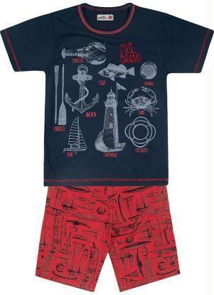 0c2282977 CONJUNTO CAMISETA/BERMUDA MSL BRAND AZUL Conjunto Marisol, contendo  Camiseta em meia malha lixada